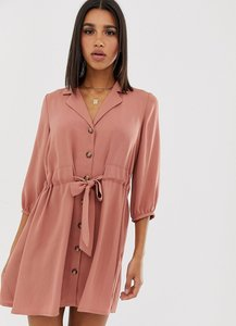Read more about Asos design button through mini shirt dress with ruched waist