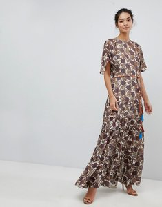 Read more about Traffic people chiffon printed belted maxi dress - cream