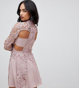 Read more about Asos design mini dress with high neck in guipure lace with cut out