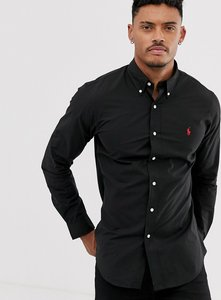 Read more about Polo ralph lauren player logo slim fit poplin shirt button-down in black - polo black
