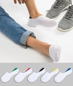 Read more about Asos design invisible liner socks in white with colour pop back tabs 5 pack - white
