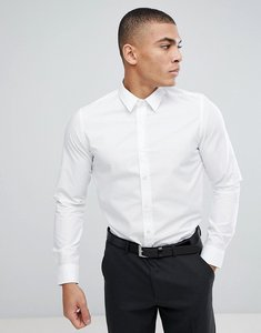 Read more about French connection slim smart shirt with tonal logo - white