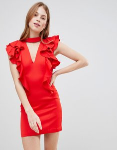 Read more about Glamorous frill choker neck dress - red