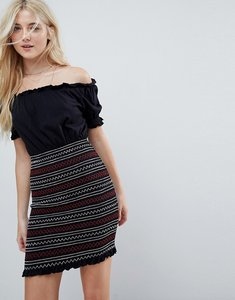 Read more about Asos off shoulder sundress with shirred embroidered skirt panel - black