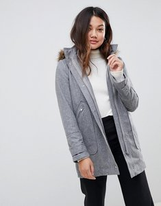 Read more about Stella morgan parka coat with faux fur hood - grey