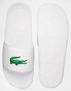 Read more about Lacoste fraisier croc slider flip flops - white