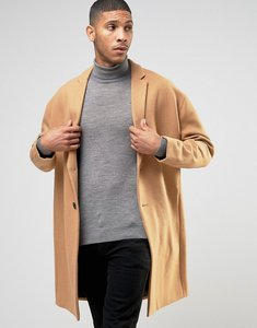 Read more about Asos wool mix overcoat with drop shoulder in camel - camel