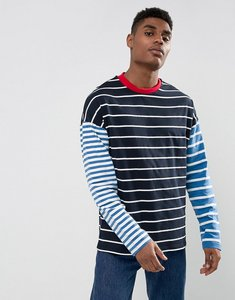 Read more about Asos oversized long sleeve t-shirt with contrast stripe - navy