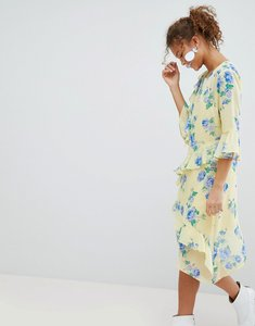 Read more about Miss selfridge floral print ruffle midi dress - yellow