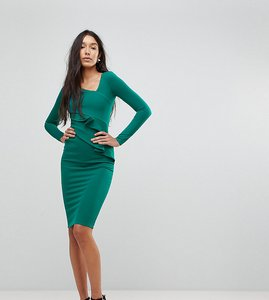 Read more about City goddess tall long sleeve pencil dress with ruched detail - emerald green
