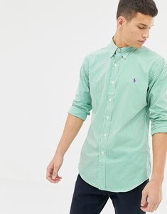 Read more about Polo ralph lauren slim fit striped poplin shirt with button down collar in green