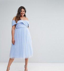 Read more about Asos curve wedding tulle midi dress - pale blue