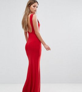 Read more about Club l deep plunge back maxi dress - red