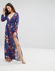 Read more about Club l long sleeve floral printed maxi dress - purple floral