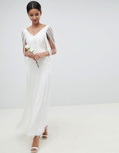 Read more about Asos edition fringe maxi wedding dress - white