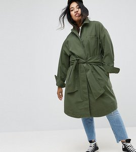 Read more about Asos curve cotton jacket with tie waist - khaki