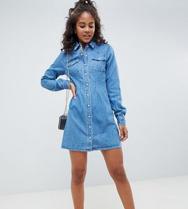 Read more about Asos design tall denim fitted western shirt dress with seam detail - blue