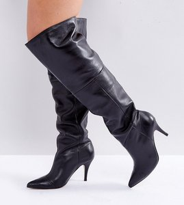 Read more about Asos klara wide fit leather slouch over the knee boots - black leather