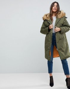 Read more about Asos parka with luxe faux fur zip through hood - khaki