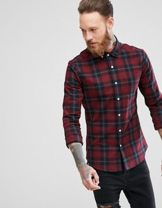 Read more about Asos skinny tartan check shirt in red - burgundy
