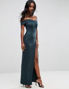 Read more about Asos scuba bardot wrap maxi dress - green