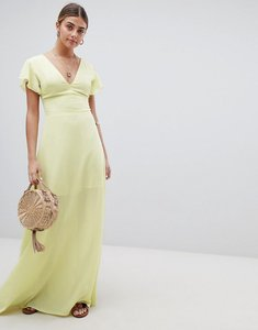 Read more about Prettylittlething angel sleeve maxi dress - lemon