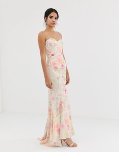 Read more about Jarlo all over printed maxi dress with train in floral