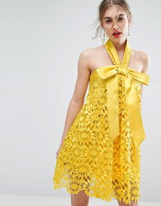 Read more about Asos salon aline lace mini dress with bow detail - yellow