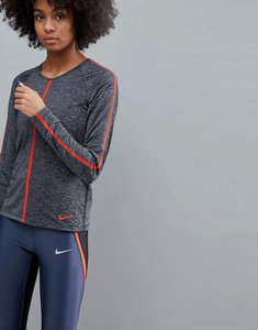 Read more about Nike pro training hypercool long sleeve top - black htr habanero