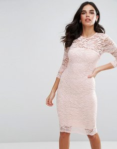 Read more about Ax paris lace 3 4 sleeve bodycon dress - pale pink