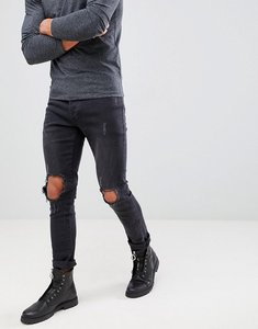 Read more about Mennace washed black busted knee relaxed skinny makavelli jeans - black