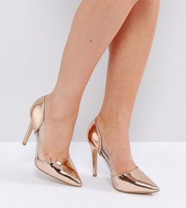 Read more about New look wide fit clear pointed heeled shoes - rose gold