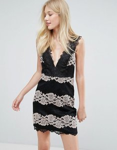 Read more about Liquorish lace panel dress - black pink
