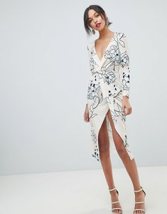 Read more about Asos design floral textured long sleeve wrap midi dress - multi