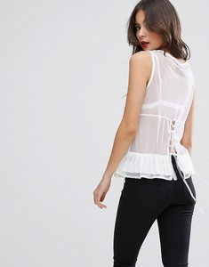 Read more about Asos top in mesh with corset back and organza ties - white