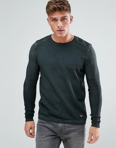 Read more about Solid sweatshirt in oil wash with knitted rib sleeves - 2958