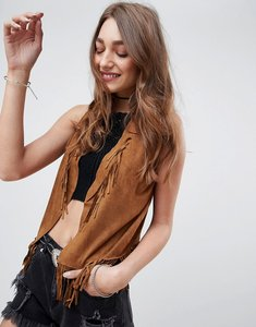 Read more about Qed london faux suede festival fringe gilet - tan