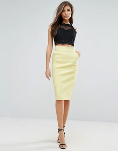 Read more about Forever unique midi leather look skirt - yellow
