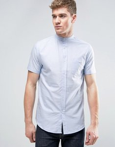 Read more about Brave soul oxford grandad short sleeve shirt with pocket - blue