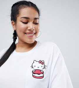 Read more about Hello kitty x asos design curve oversize t-shirt with peeping macaroon motif - white