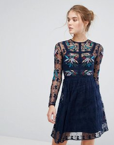 Read more about Frock and frill floral embroidered skater mini dress with lace trim - navy