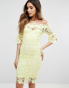 Read more about Paper dolls bardot midi lace dress with 3 4 fluted sleeve