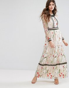 Read more about Miss selfridge premium embroidered lace detail maxi dress - multi