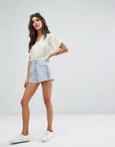 Read more about Vero moda embelished denim cut off shorts - light blue denim