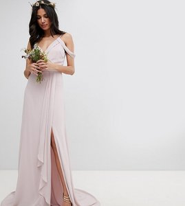 Read more about Tfnc tall cold shoulder wrap maxi bridesmaid dress with fishtail - mink
