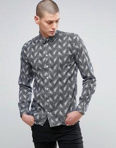 Read more about Minimum herringbone print shirt - black