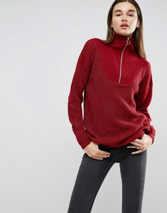 Read more about Asos jumper with zip up high neck in metallic yarn - red