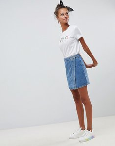 Read more about Asos design denim wrap skirt in stonewash blue - blue