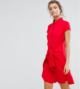 Read more about Closet tie front dress with cap sleeve - red