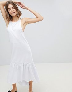 Read more about Asos design maxi dress with racer back and hi lo pep hem - white
